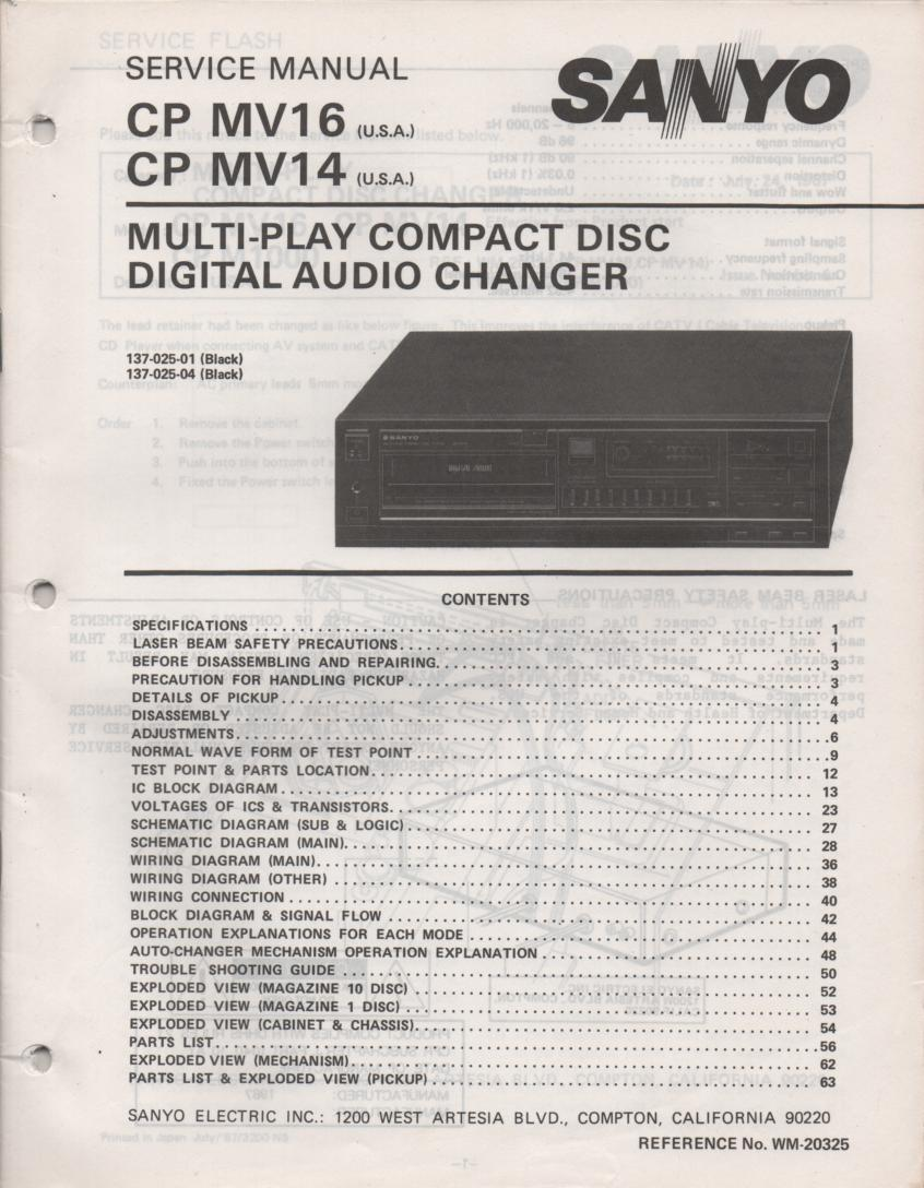CP MV14 CP MV16 Multi-Disc CD Player Service Manual