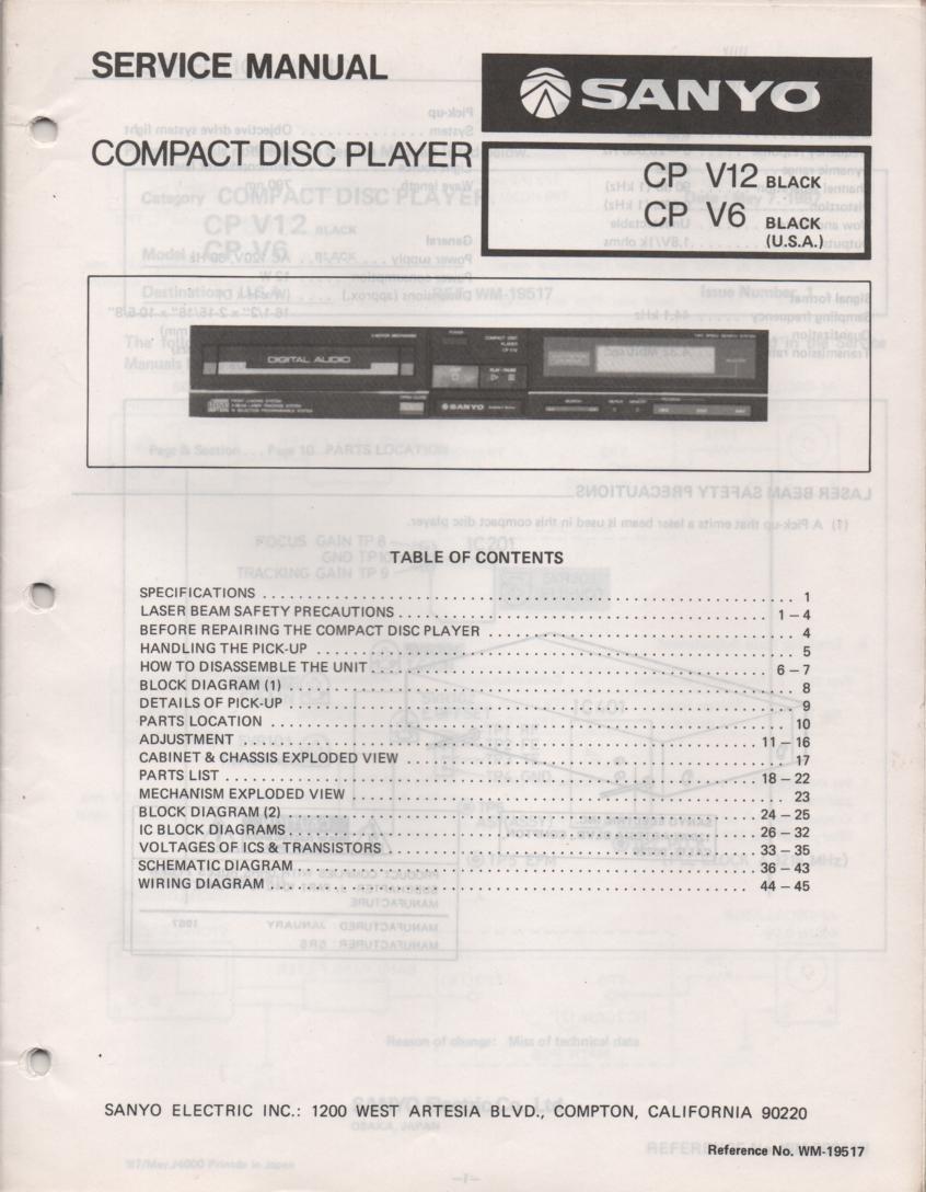 CP V6 CP V12 CD Player Service Manual