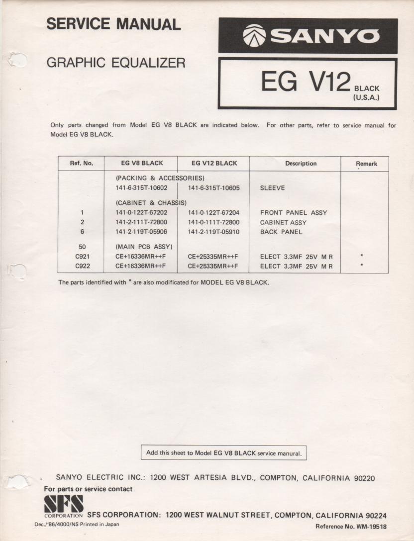 EG V12 Graphic Equalizer Service Manual