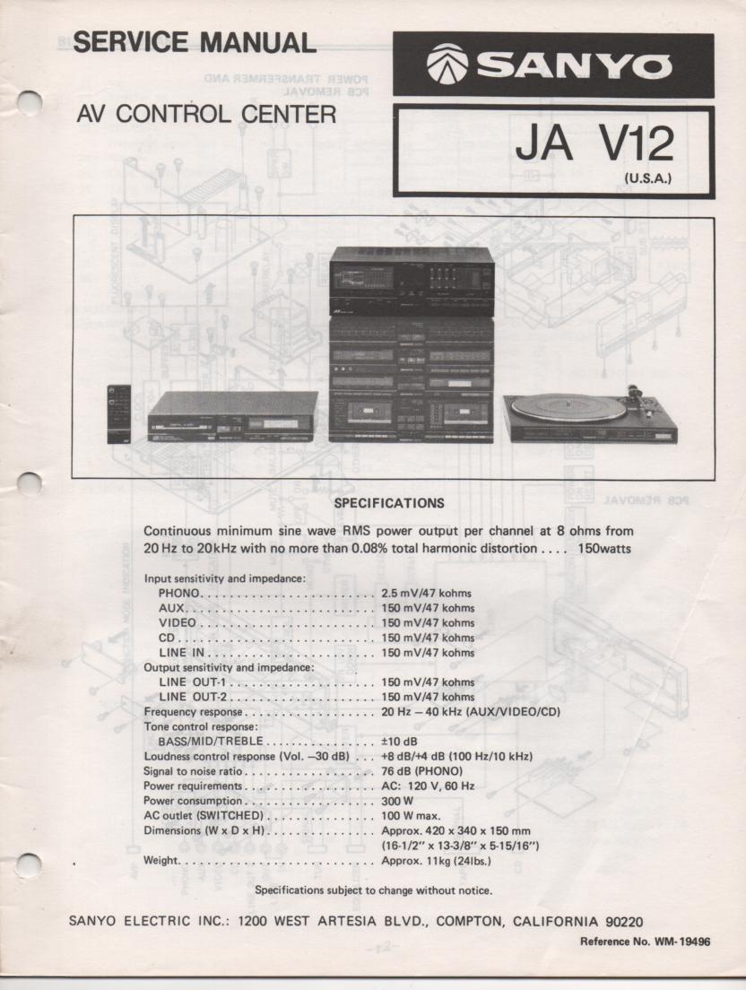 JA V12 Audio Video Control Center Service Manual