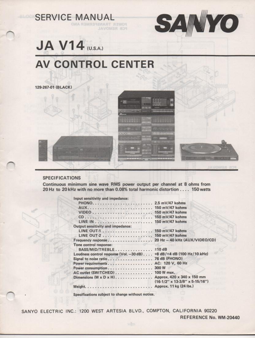 JA V14 Audio Video Control Center Service Manual