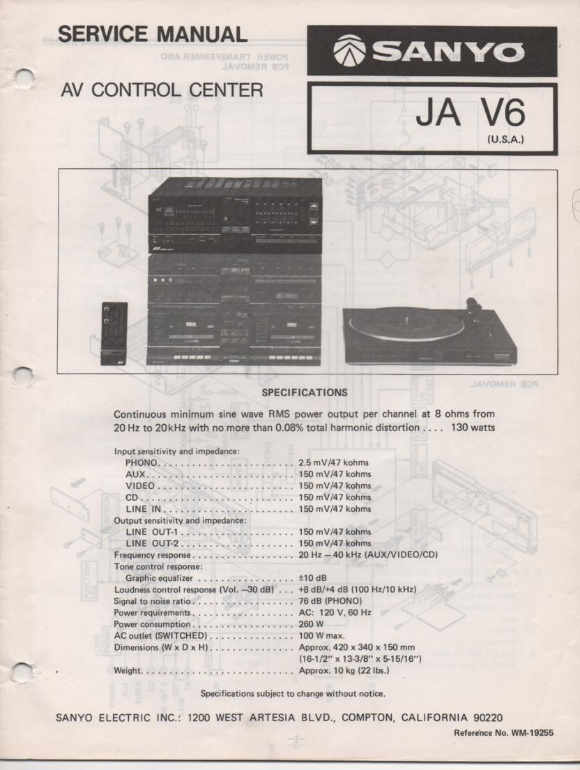 JA V6 Audio Video Control Center Service Manual