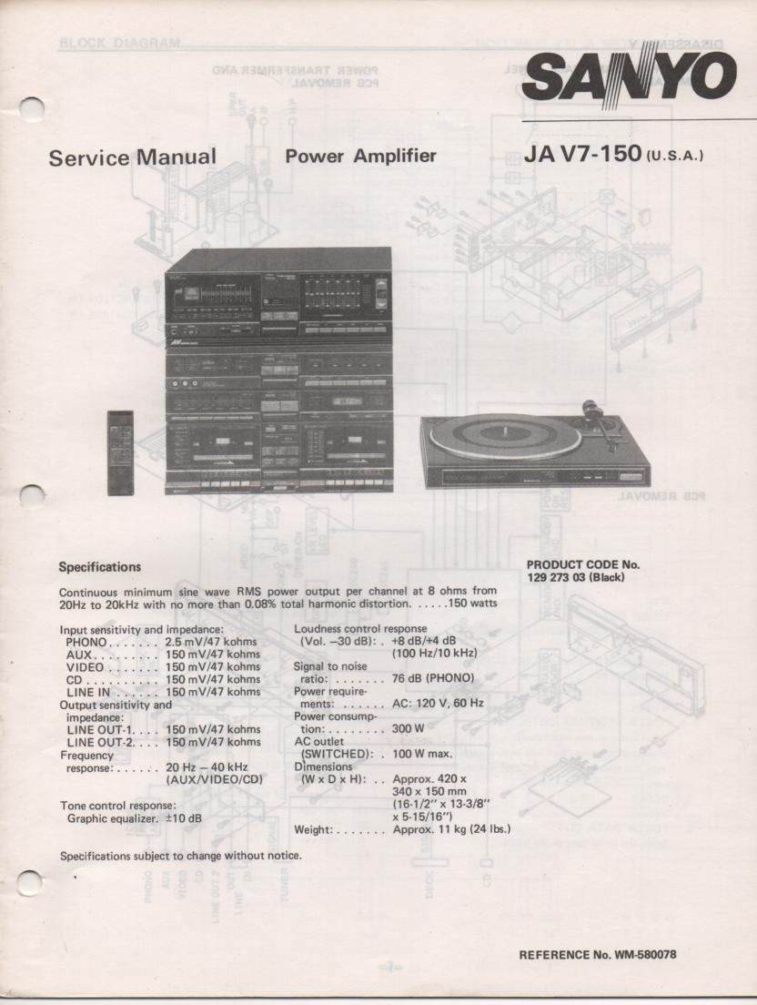 JA V7-150 Power Amplifier Service Manual