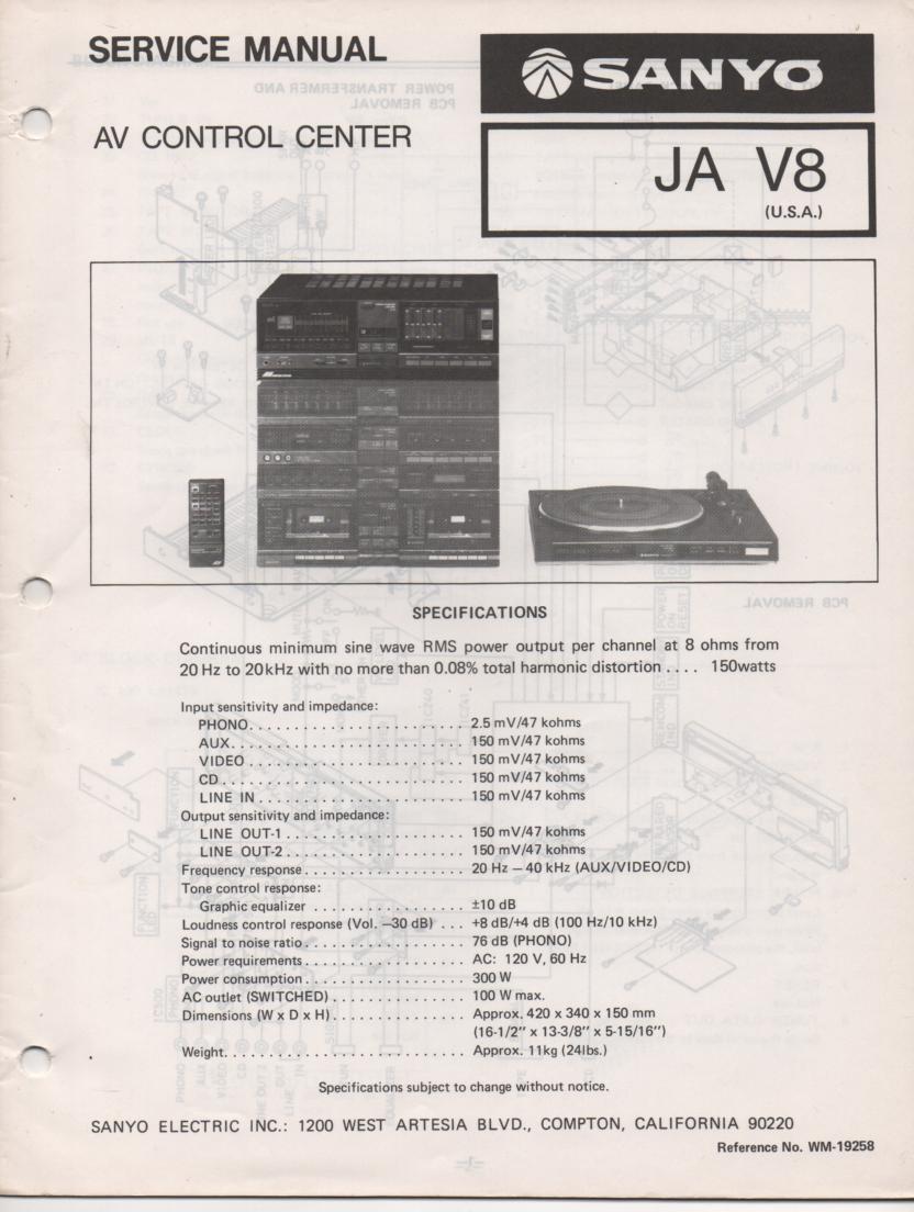 JA V8 Audio Video Control Center Service Manual