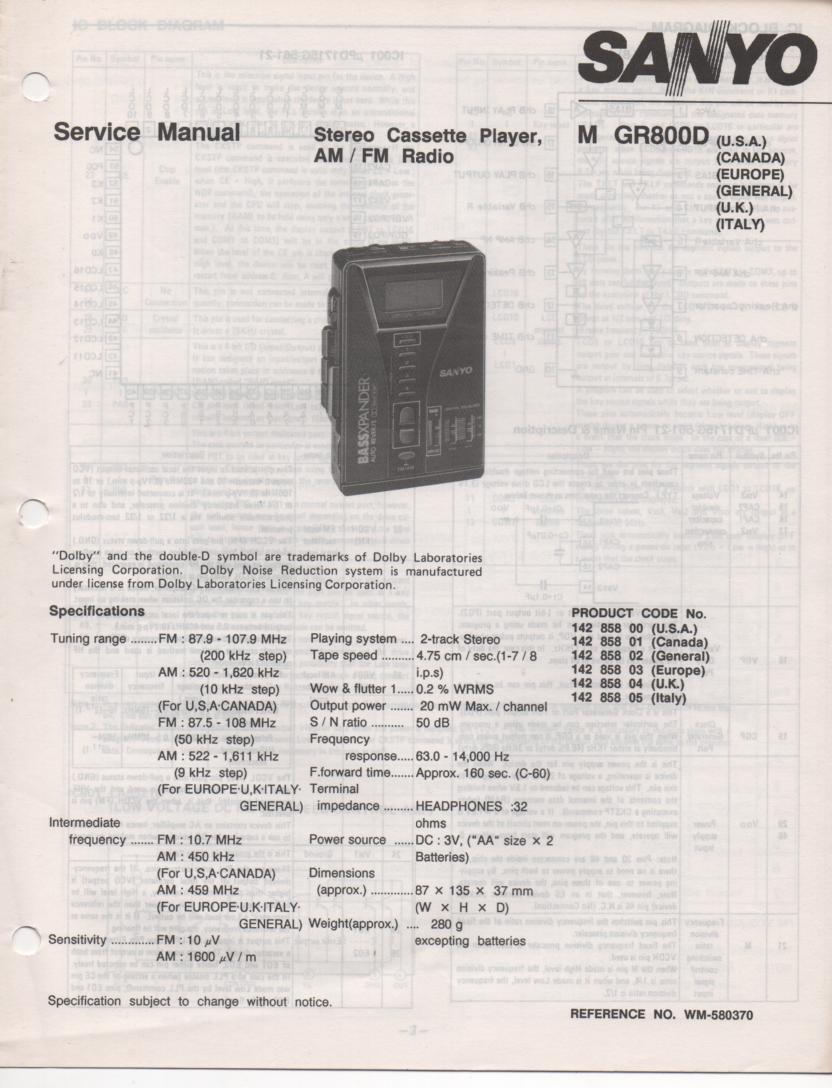 M GR800D AM FM Cassette Player Service Manual