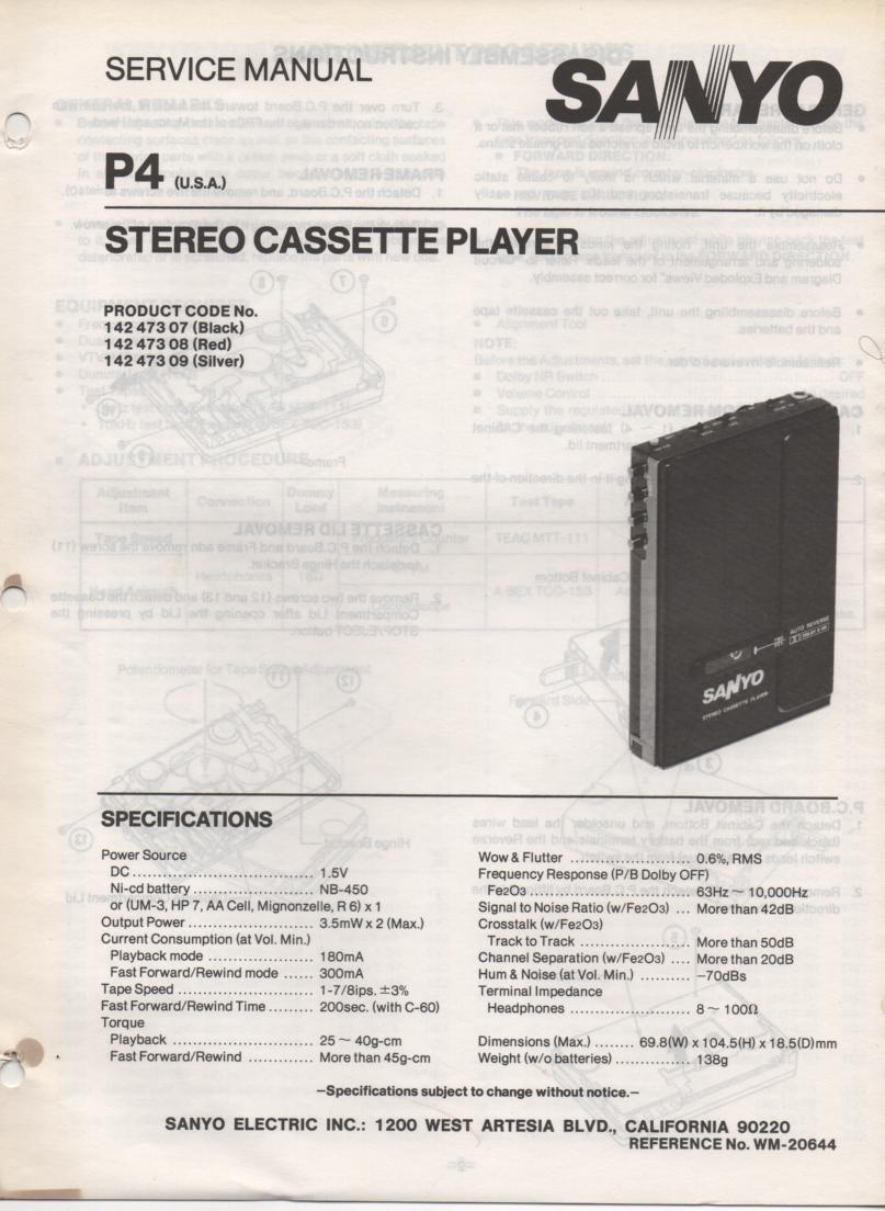 P4 Stereo Cassette Player Service Manual