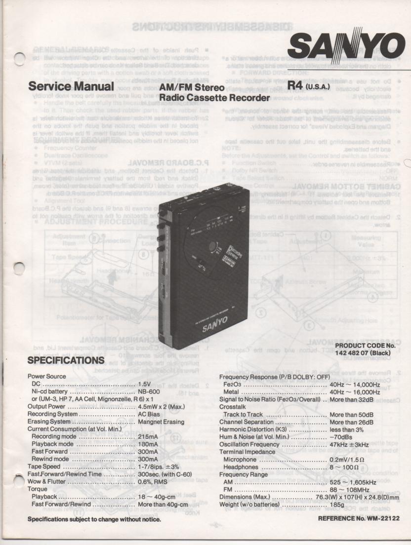 R4 AM FM Stereo Cassette Recorder Service Manual