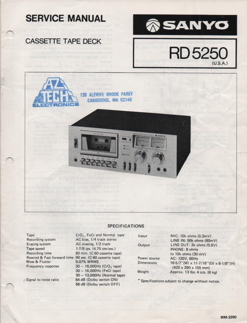 RD5250 Cassette Deck Service Manual