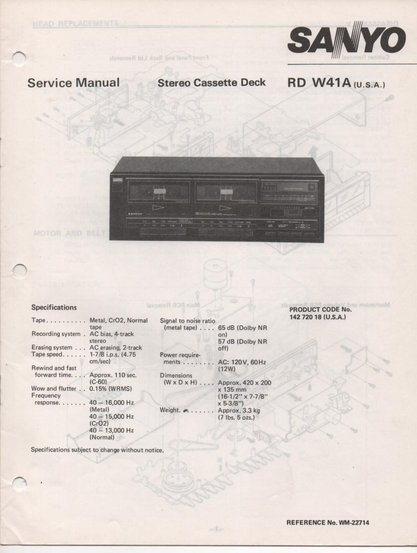 RD W41A Cassette Deck Service Manual