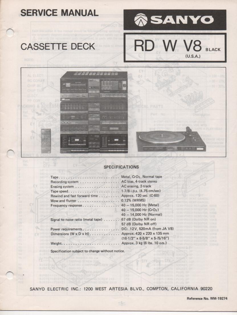 RD W V8 Cassette Deck Service Manual
