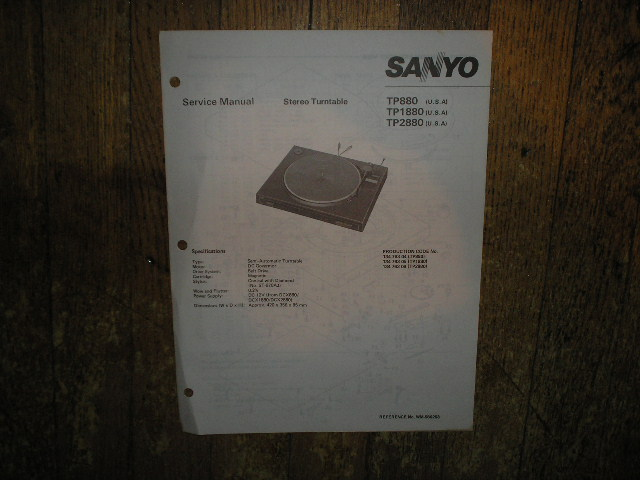 TP880 TP1880 TP2880 Turntable Service Manual