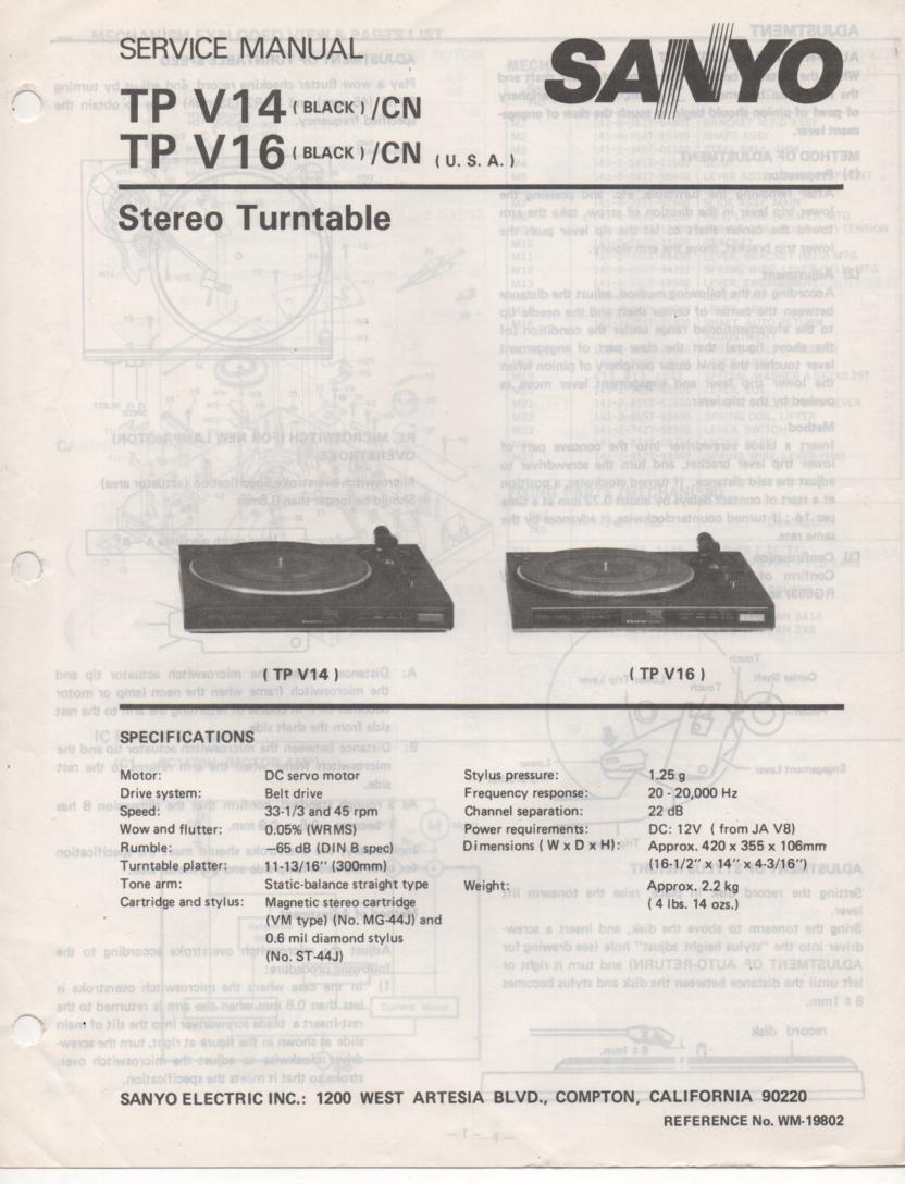 TP V14 TP V16 Stereo Service Manual