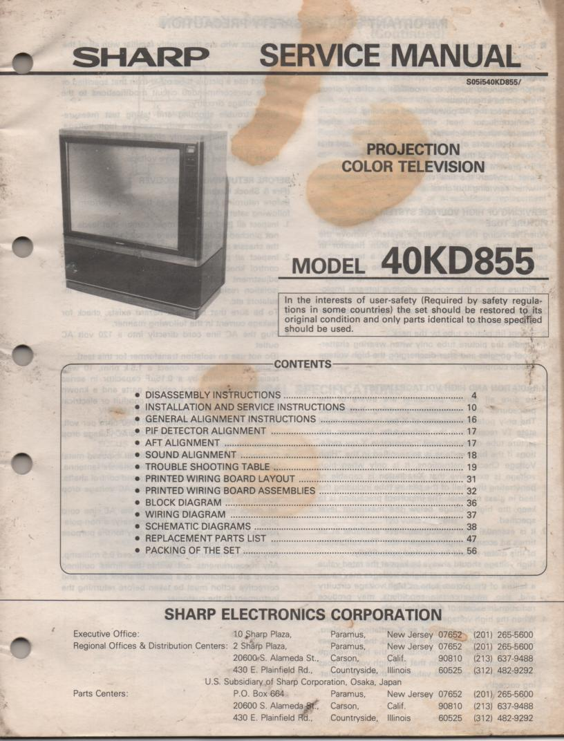 40KD855 Projection TV Service Manual
