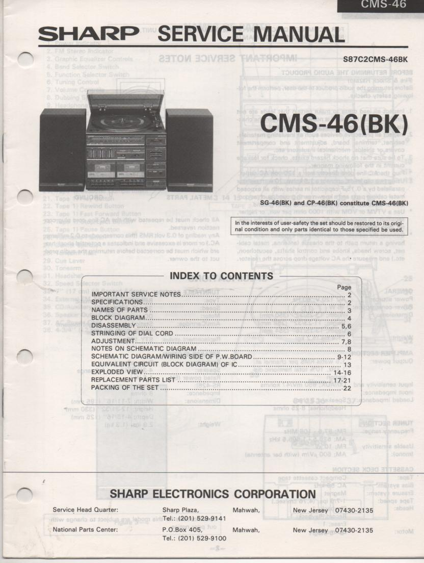 CMS-46 CMS-46BK SG-46 SP-46 Stereo System Service Manual
