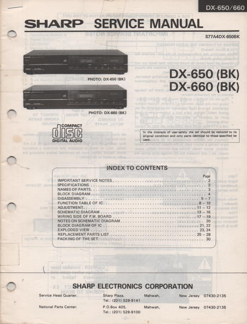 DX-650BK DX-660BK CD Player Service Manual