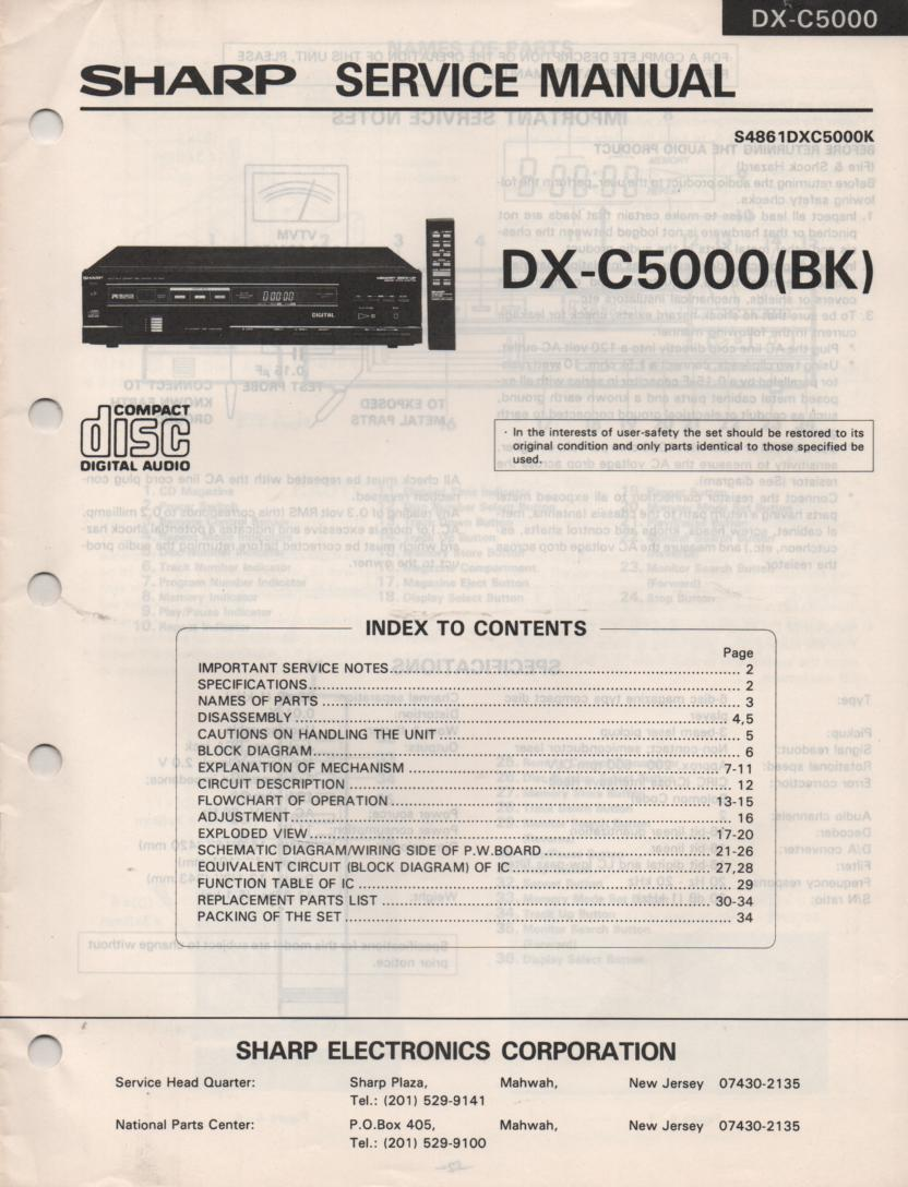 DX-C5000BK CD Player Service Manual