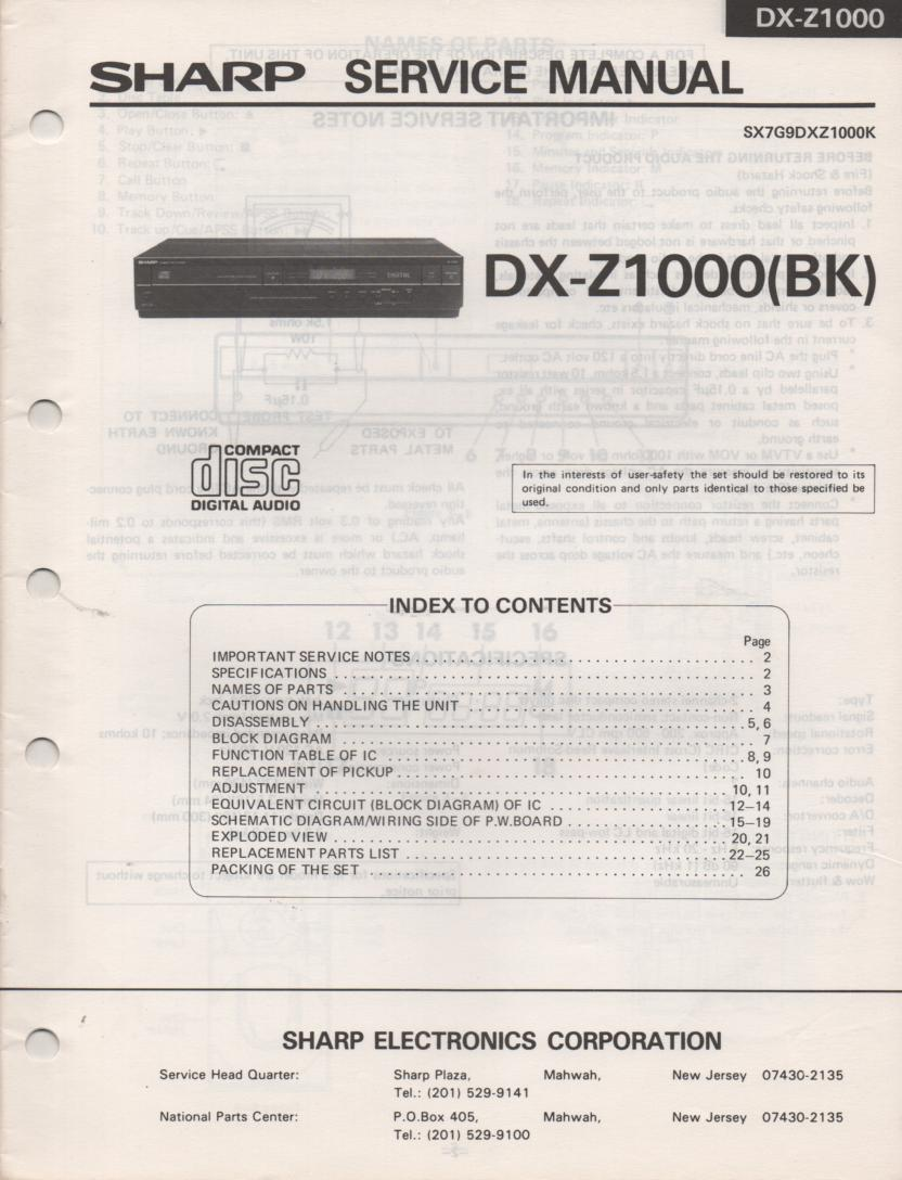 DX-Z1000BK CD Player Service Manual