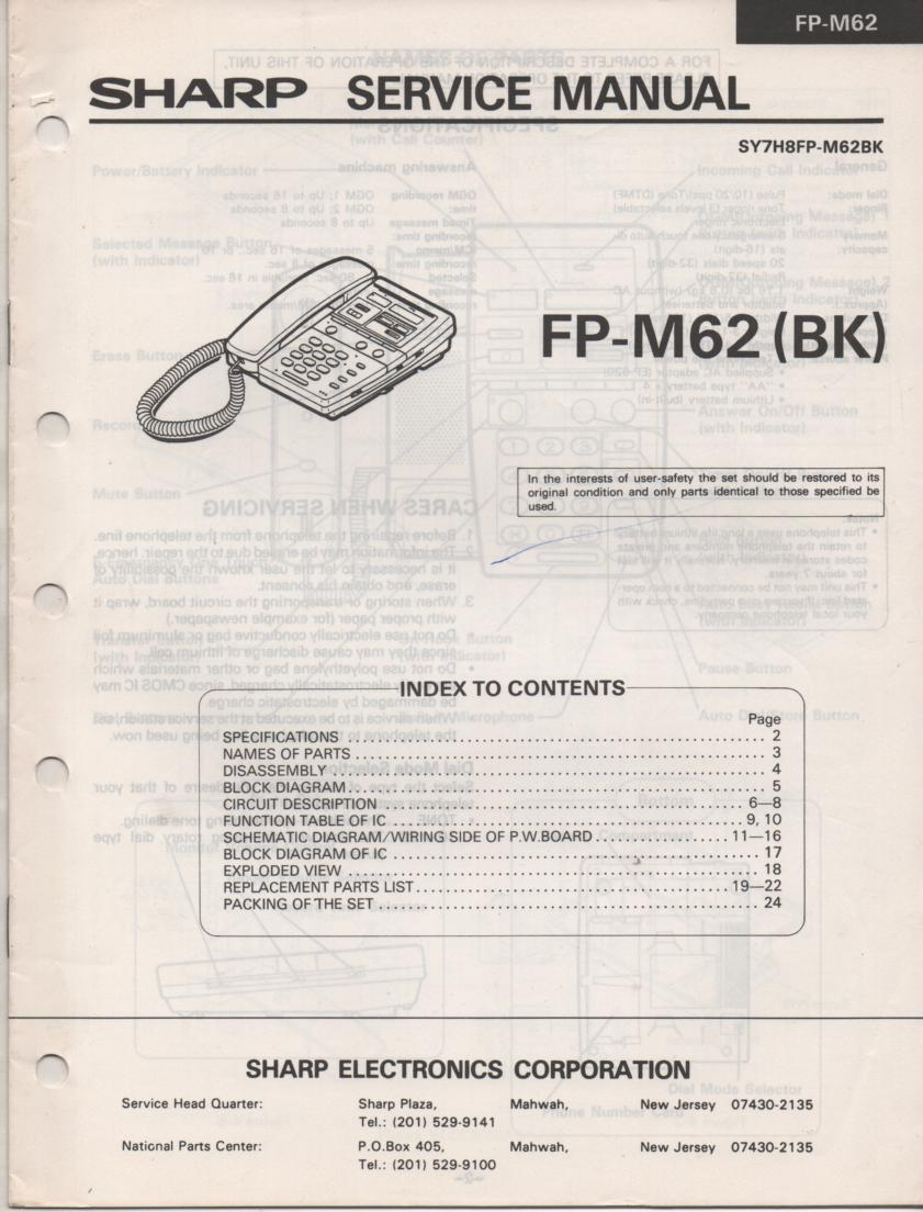 FP-M62 Telephone Service Manual