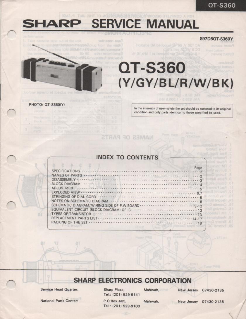 QT-S360 Radio Service Manual