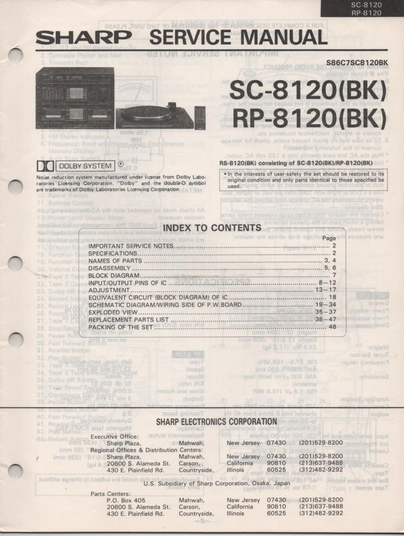 RS-8120BK SC-8120 RP-8120 Stereo System Service Manual