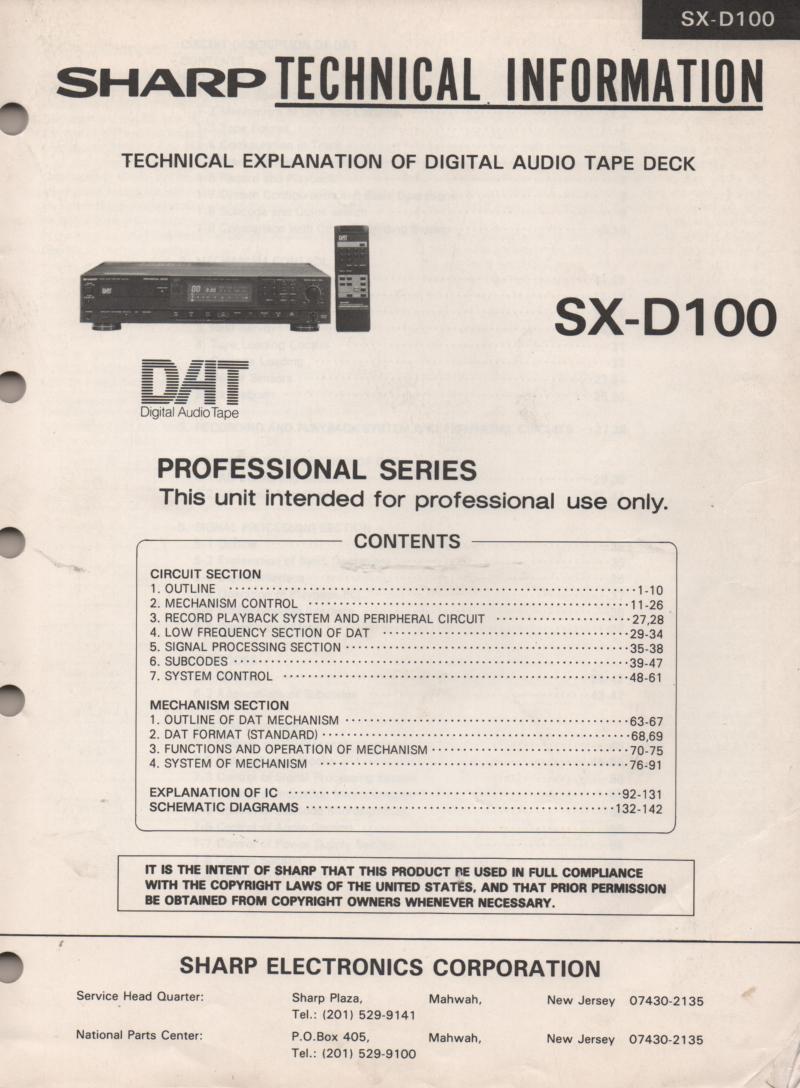 SX-D100 DAT Digital Tape Recorder Service Manual
