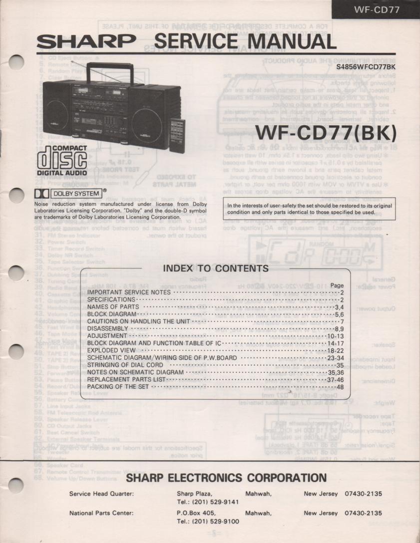 WF-CD77 CD Radio Service Manual