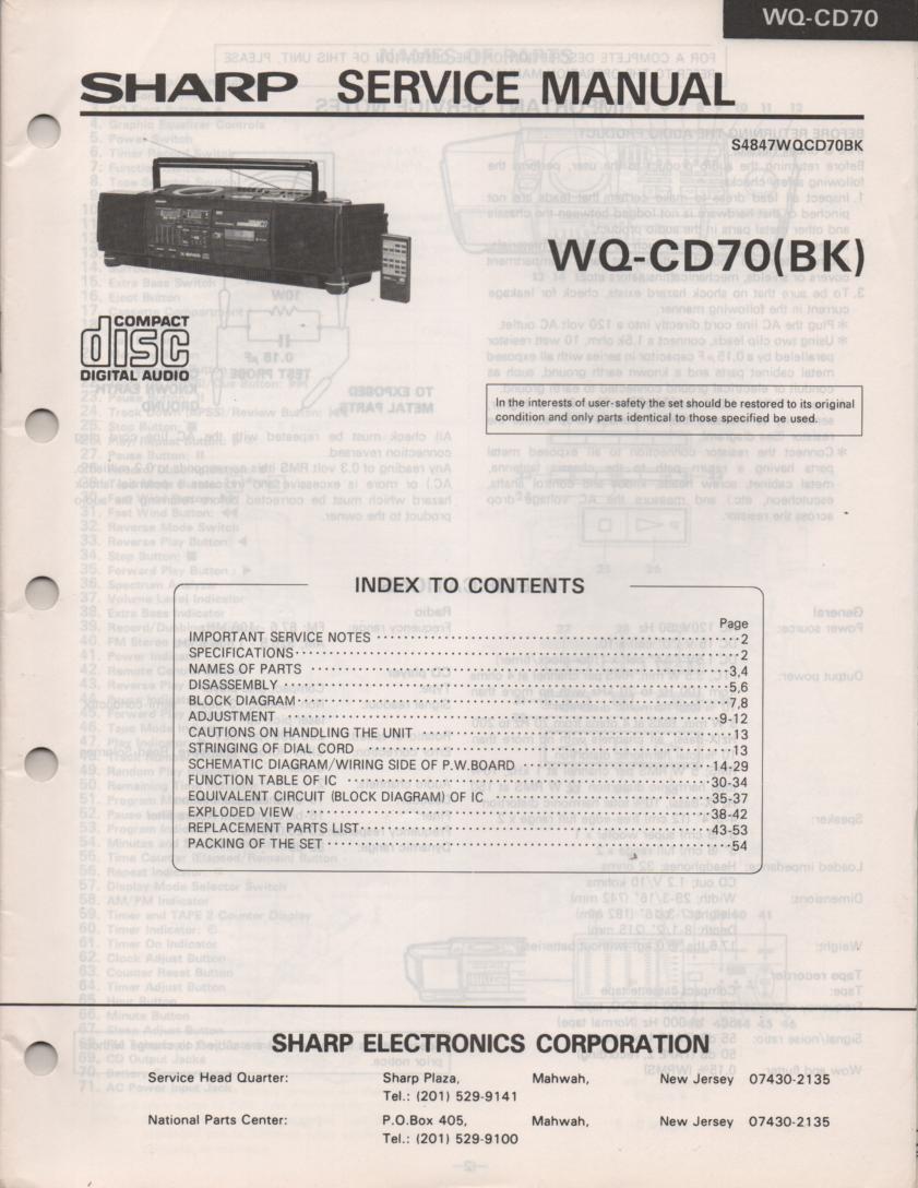 WQ-CD70 CD Radio Service Manual