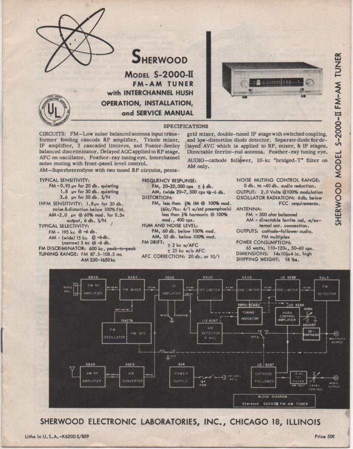 S-2000 II Stereo Tuner Operation Installation Service Manual. for Serial no. 229000 and up.
