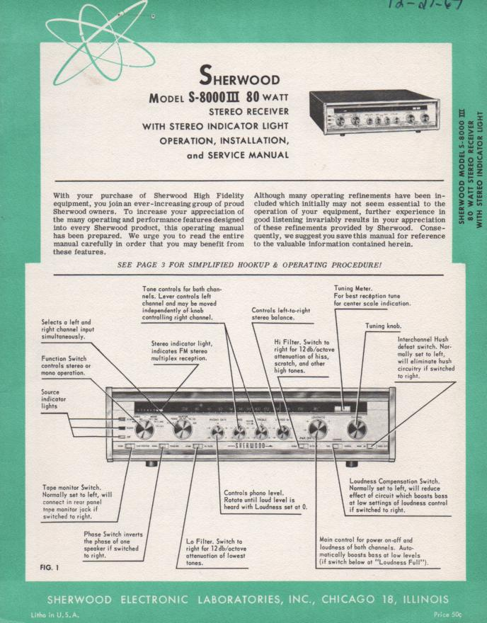 S-8000 III Receiver Service Owners Manual Serial No.839100 and up.
