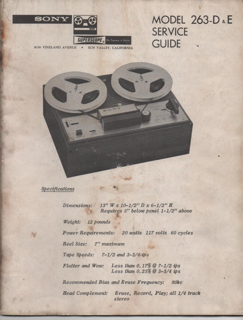 263D 263E Reel to Reel Service Manual  Sony