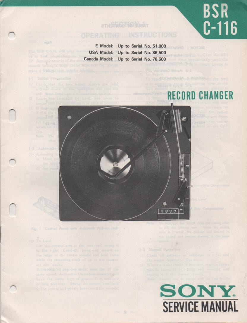 C-116 Turntable Service Manual 2  BSR Sony