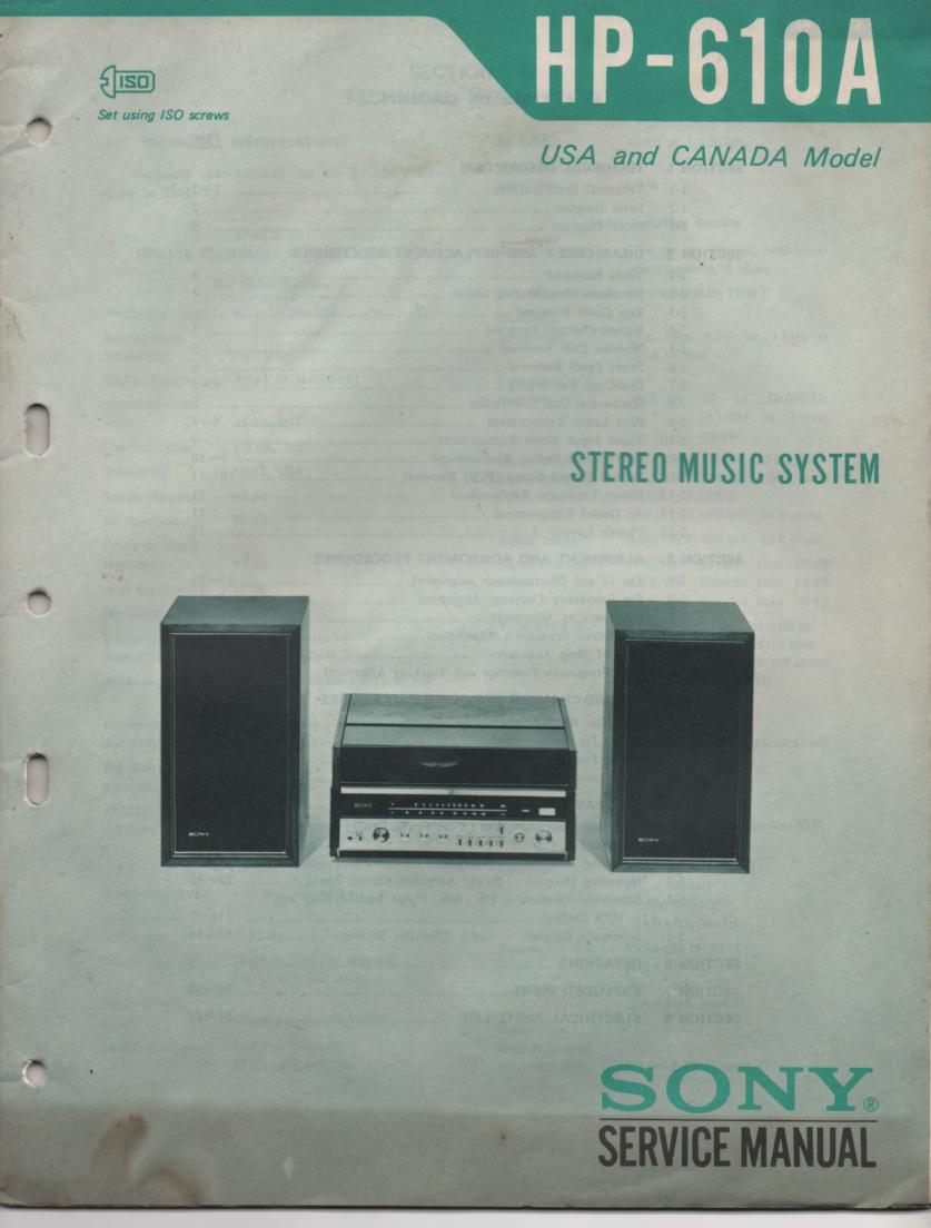 HP-610 HP610 Stereo System Service Manual