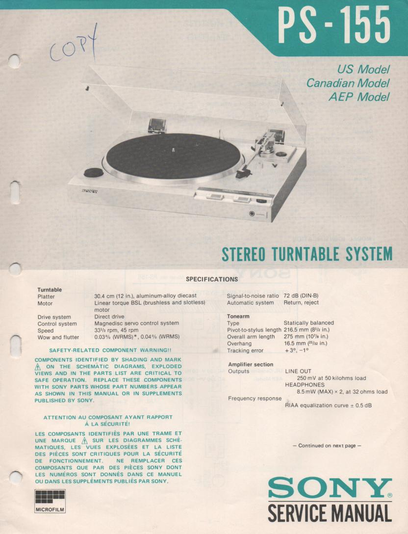 PS-155 Turntable Service Manual