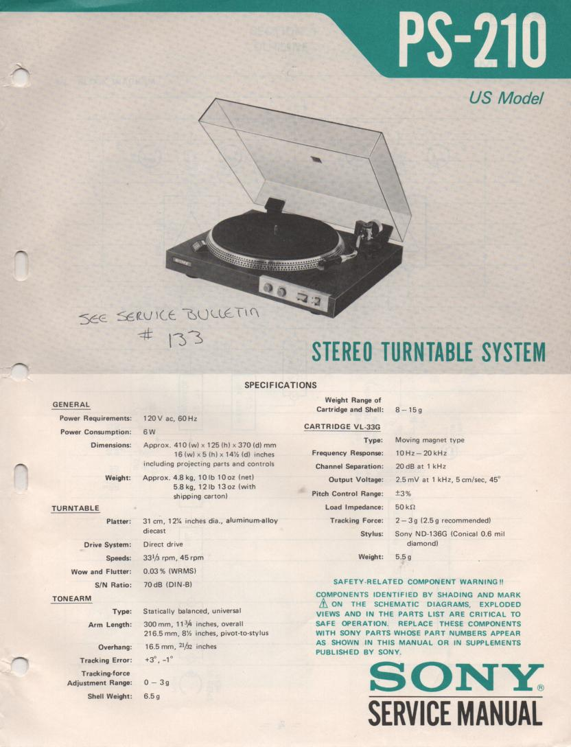 PS-210 Turntable Service Manual