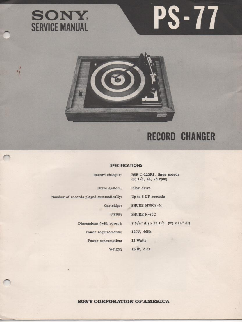 PS-77 Turntable Service Manual