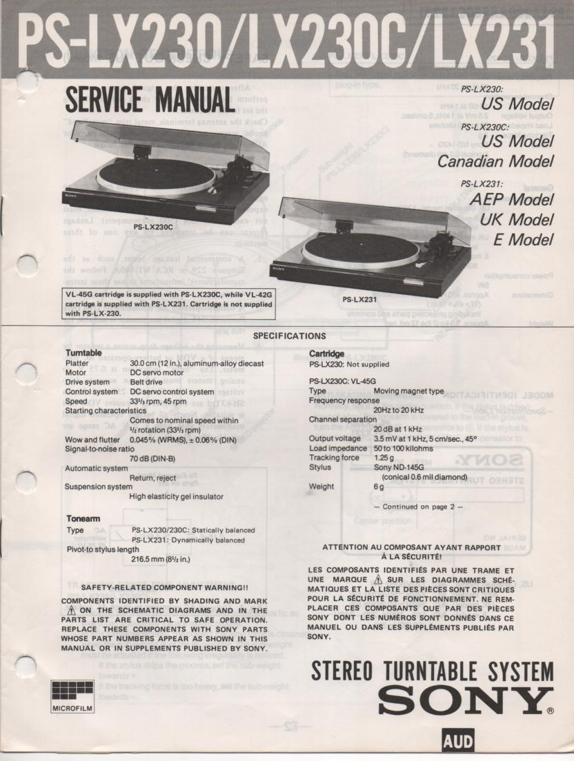 PS-LX230 PS-LX230C PS-LX231 Turntable Service Manual