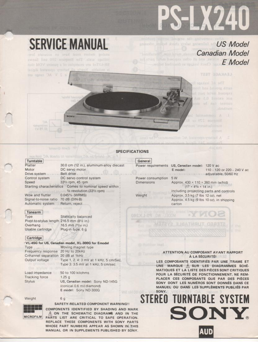 PS-LX240 Turntable Service Manual
