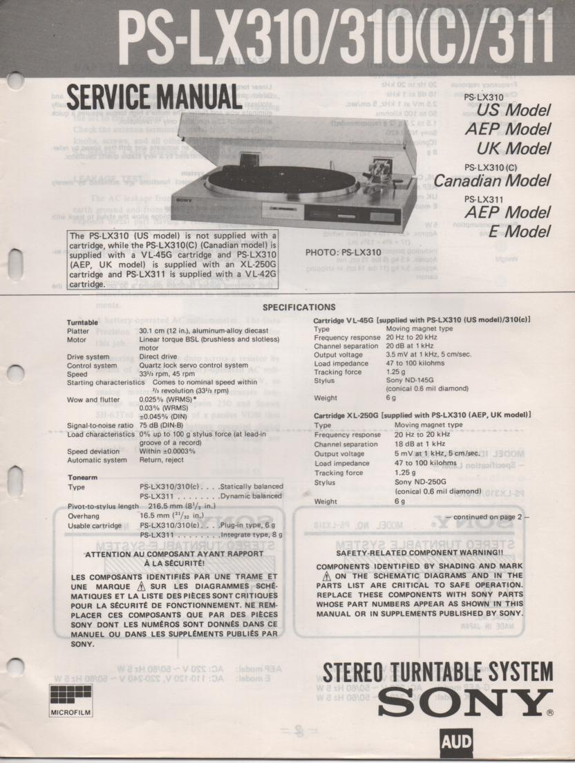 PS-LX310 PS-LX310C PS-LX311 Turntable Service Manual