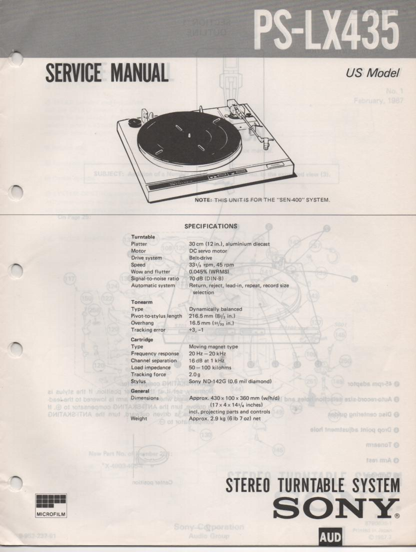 PS-LX435 Turntable Service Manual
