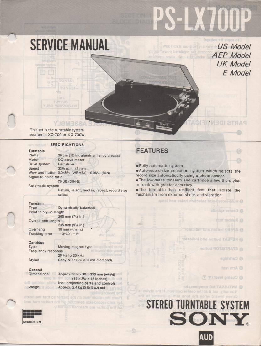 PS-LX700P Turntable Service Manual
