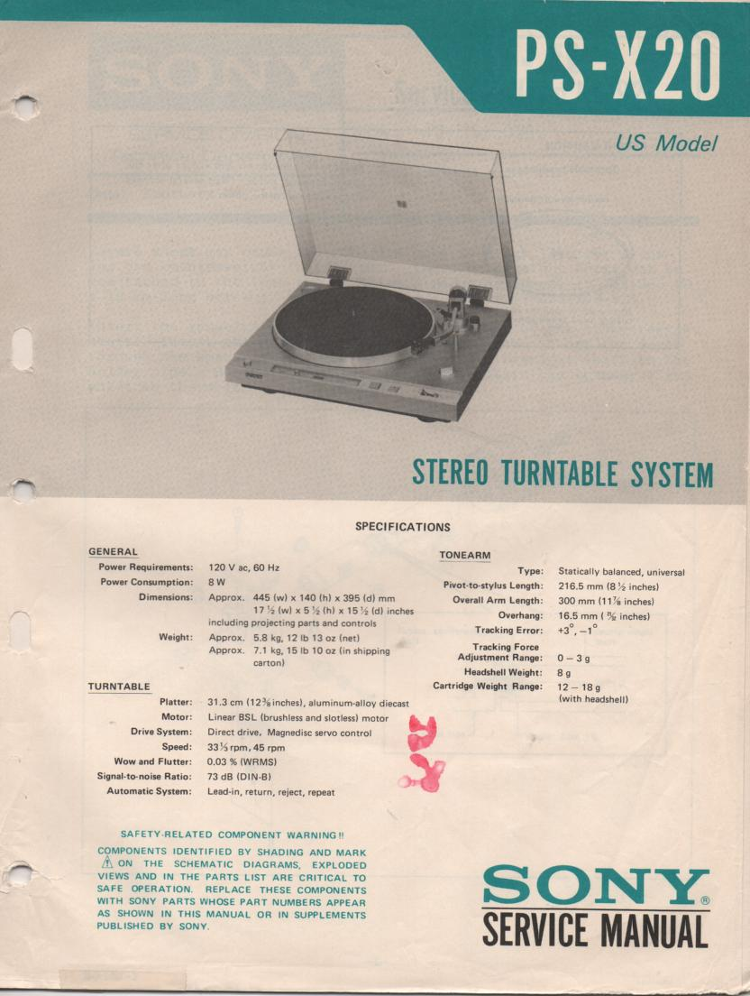PS-X20 Turntable Service Manual