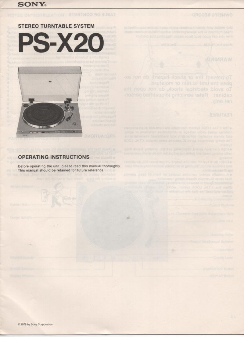 Sony Psx Ps X Turntable Owners Operating Instruction Manual on Zenith Tv Manuals