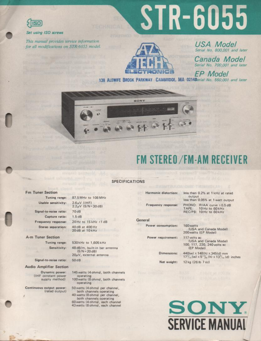 STR-6055 Receiver Service Instruction Manual