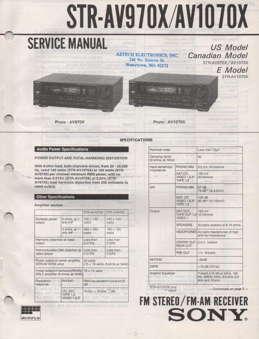 STR-AV990X STR-AV1070X Service Instruction Manual