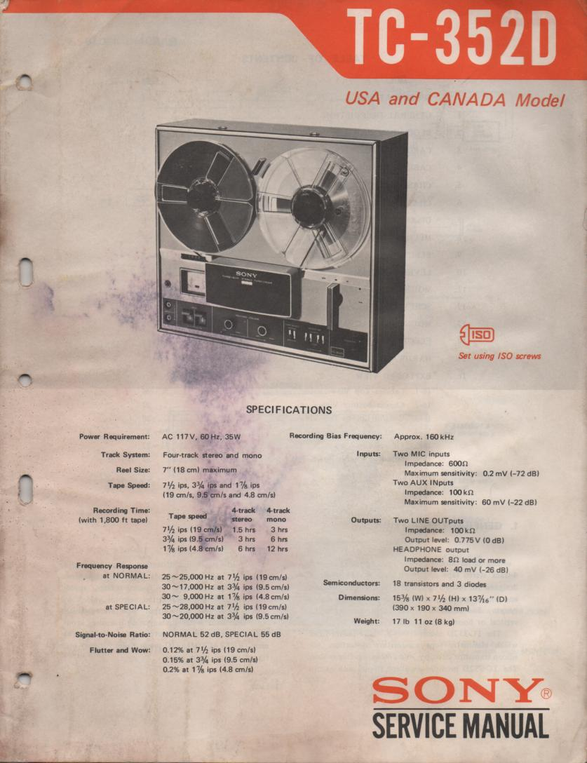 TC-352D Reel to Reel Service Manual  Sony