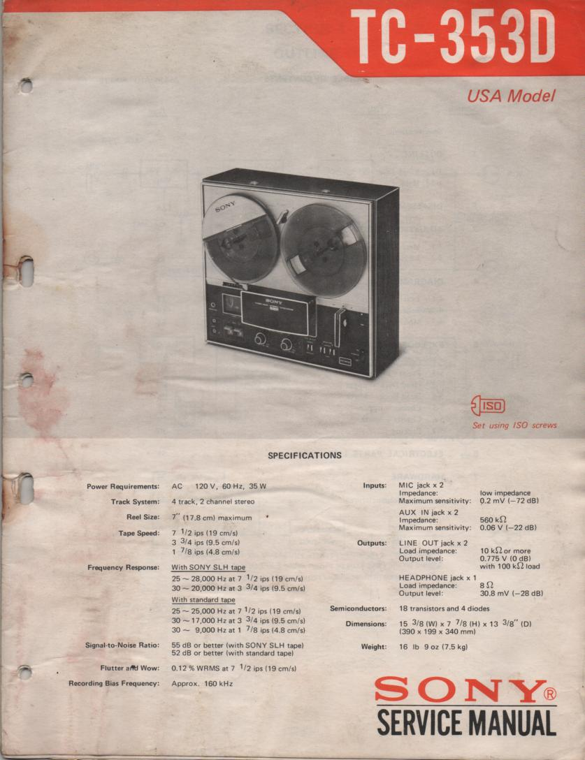 TC-353D Reel to Reel Service Manual  Sony