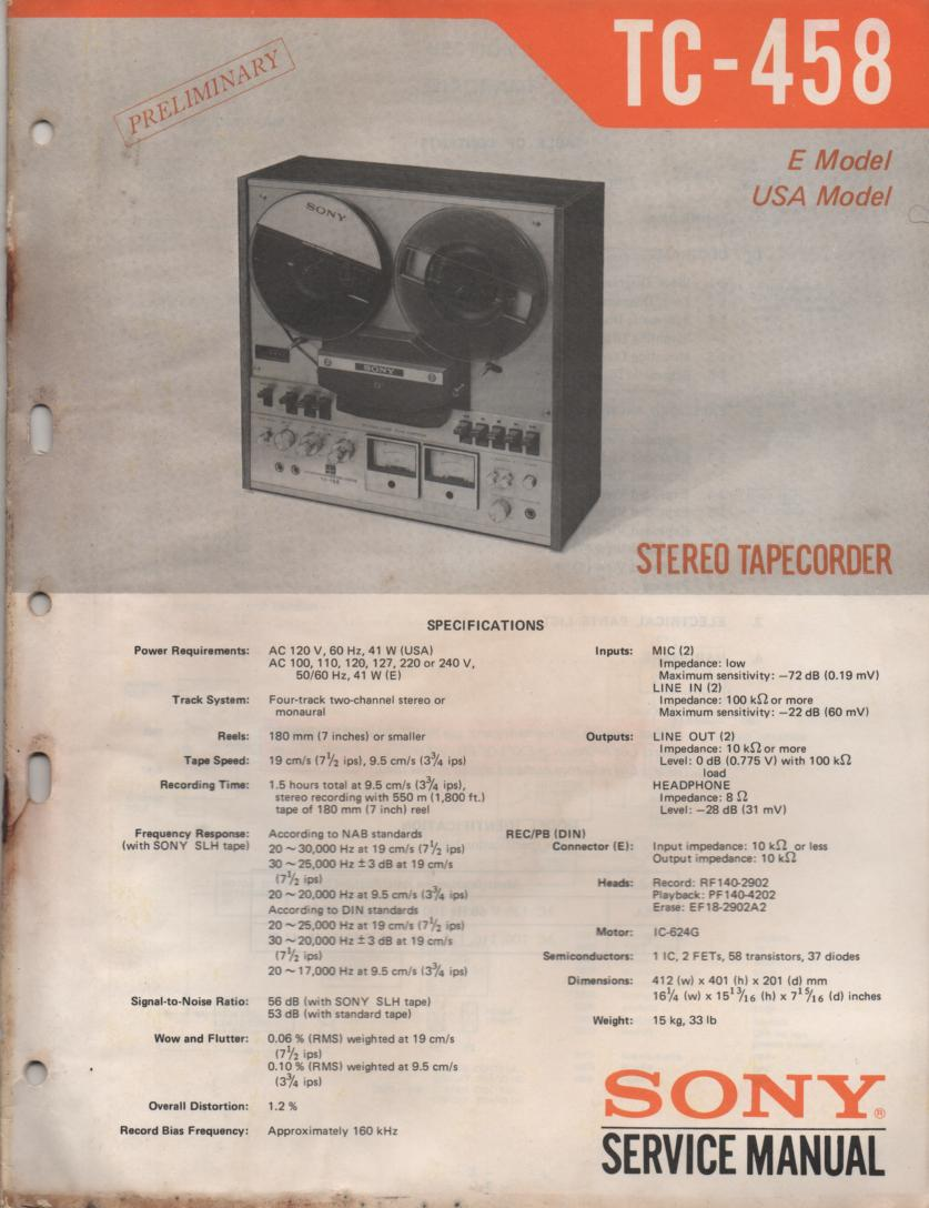 TC-458 Reel to Reel Service Manual  Sony