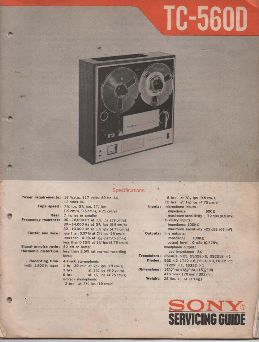 TC-560D Reel to Reel Service Manual  Sony