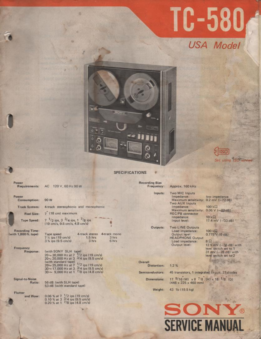 TC-580 Reel to Reel Service Manual  Sony