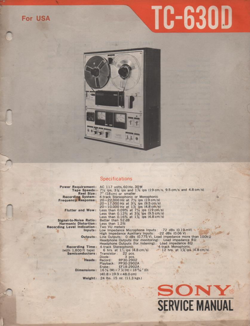 TC-630D Reel to Reel Service Manual  Sony